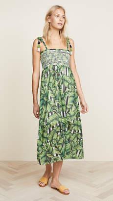 Red Carter Pippi Smocked Leaf Print Dress