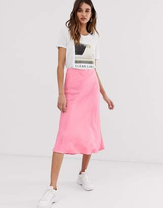 f7faa9e9f99a Asos pink satin bias cut skirt