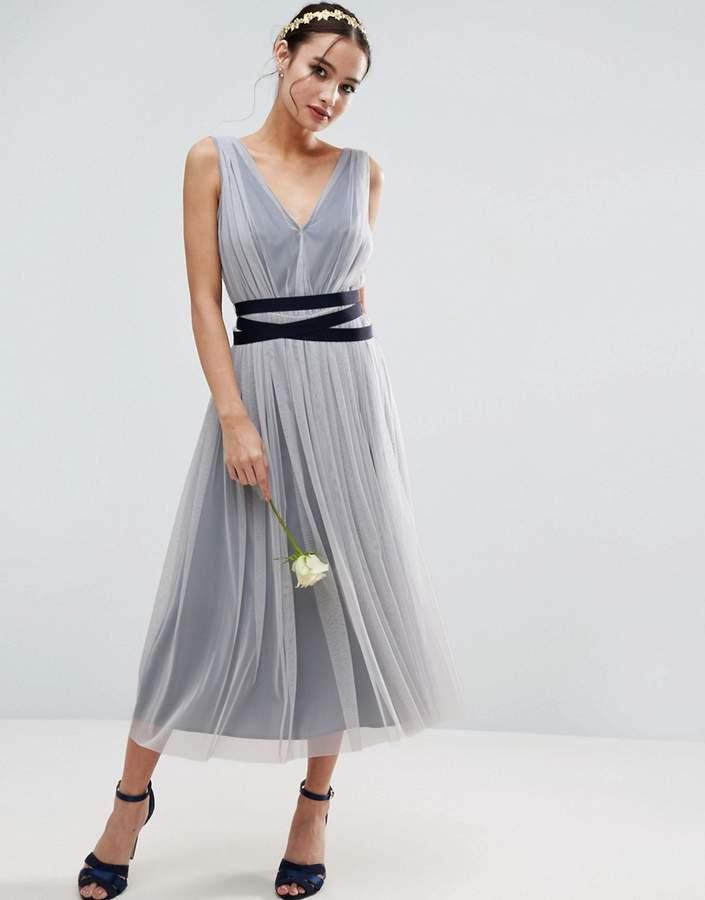 AsosASOS WEDDING Mesh Midi Dress With Ribbon Strapping Detail