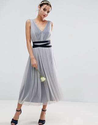 Asos DESIGN Bridesmaid mesh midi dress with navy ribbon strapping detail