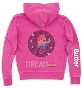 Butter Shoes Girls' Embellished Unicorn Fleece Hoodie - Little Kid, Big Kid