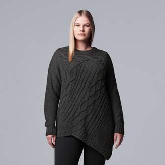 Vera Wang Plus Size Simply Vera Cable-Knit Asymmetrical Hem Sweater