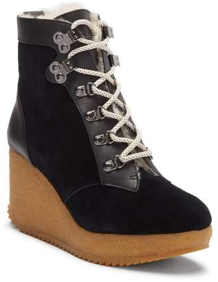 Joie Alary Genuine Shearling Lined Platform Wedge Bootie