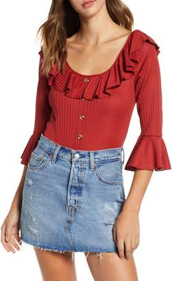 Band of Gypsies Casey Ruffle Trim Rib Bodysuit