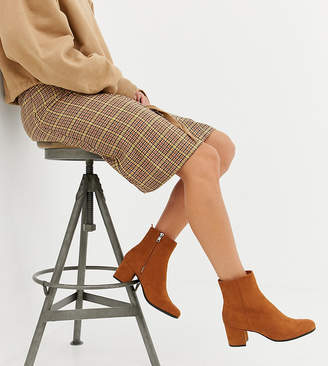 Monki faux suede heeled ankle boots in rust