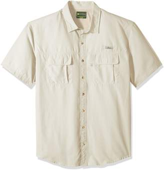 G.H. Bass & Co. Men's Big and Tall Explorer Short Sleeve Point Collar Fishing Shirt, 4X-Large Big, Green Sage