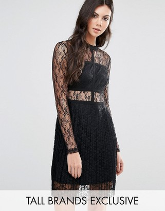 Fashion Union Tall All Over Lace Long Sleeve Skater Dress $58 thestylecure.com