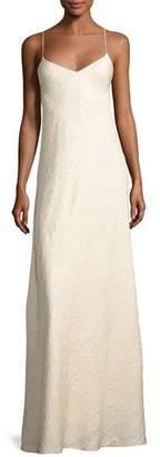 The Row Vera Cloque V-Neck Gown, Neutral
