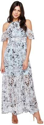 Vince Camuto Printed Chiffon Cold Shoulder Maxi Women's Dress