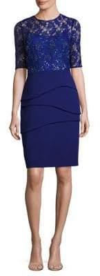 Teri Jon by Rickie Freeman Lace Bodice Sheath Dress