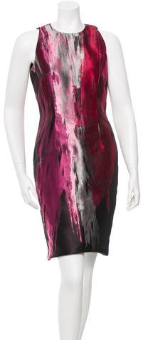 Carmen Marc Valvo Carmen Marc Valvo Metallic-Accented Cocktail Dress