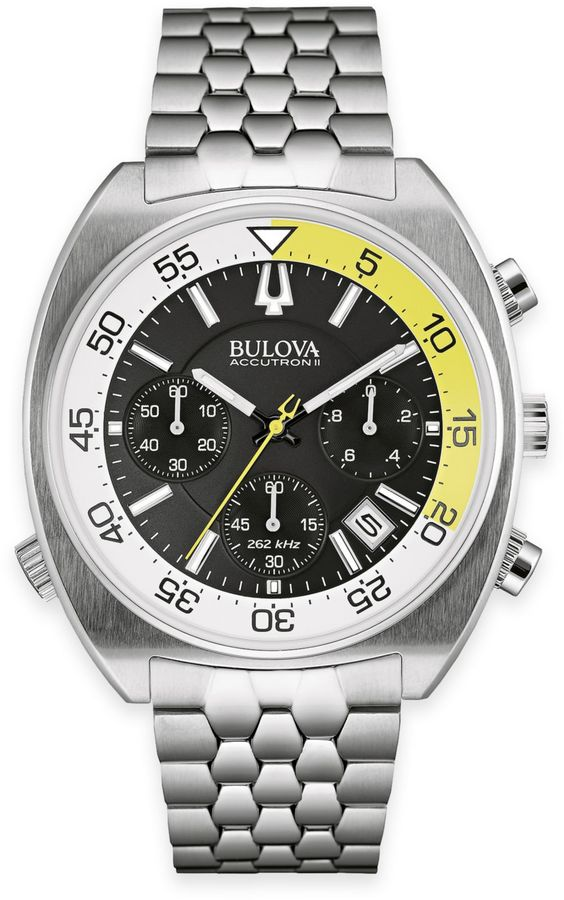 Bulova Accutron II Men's 44mm UHF Chronograph Black Dial Watch in Stainless Steel