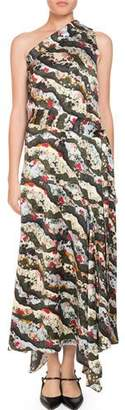Erdem Zainab One-Shoulder Asymmetric Keiko Marble-Print Long Dress with Handkerchief Hem