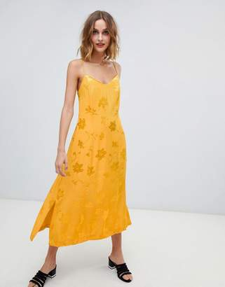 Warehouse strappy midi dress in yellow jacquard