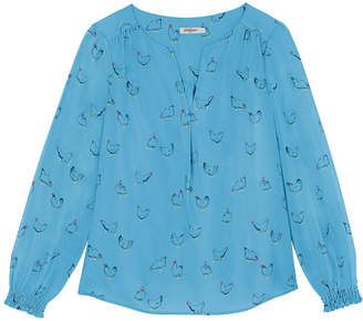 Cath Kidston Sketched Chickens Viscose Twill Blouse