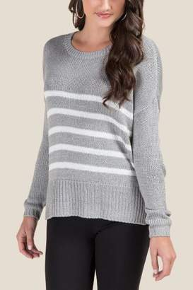 francesca's Mandy Striped Elbow Patch Sweater - Gray