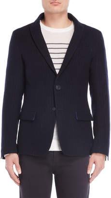 Armani Jeans Navy Chalk Stripe Wool Blazer