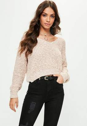 Missguided Petite Nude V Neck Textured Sweater