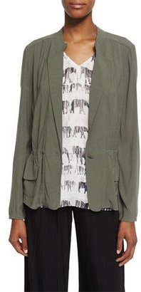 NIC+ZOE Femme One-Button Utility Jacket, Dusty Olive $105 thestylecure.com