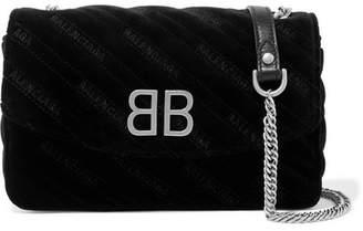 Balenciaga Bb Chain Embroidered Quilted Velvet Shoulder Bag - Black