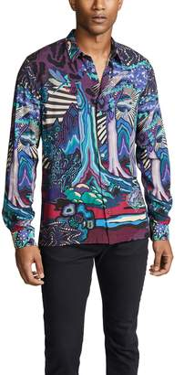 Paul Smith Long Sleeve Woven In Dreamer Print Straight Hem Shirt