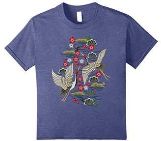 Crane & Cherry Blossom Tshirt - Vintage Japanese Embroidery