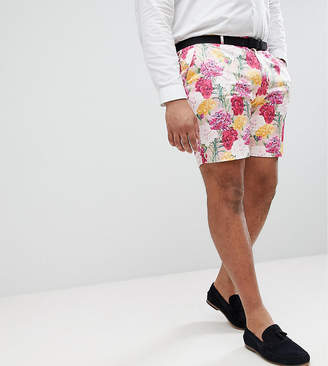 Asos Design PLUS Wedding Skinny Smart Shorts In Pink Floral Print