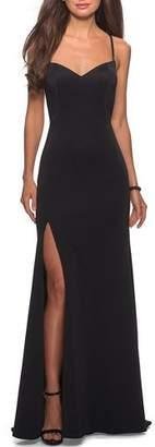La Femme Sweetheart Cross-Back Jersey Gown with Slit
