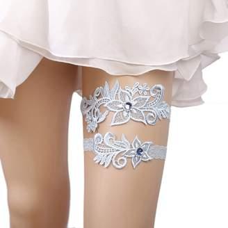 fdd4c2cbe9e Belyee Bridal Wedding Accessory Blue Garter with Lace Rhinestone Leg Garter  Set