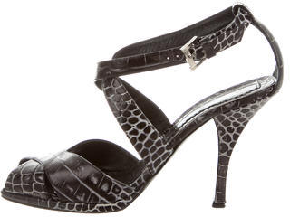 Casadei Embossed Leather Crossover Sandals $80 thestylecure.com