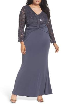 Marina Sequin Lace & Jersey Mermaid Gown