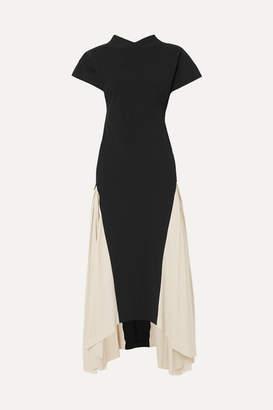 A.W.A.K.E. Mode Iris Two-tone Crepe De Chine Maxi Dress - Black
