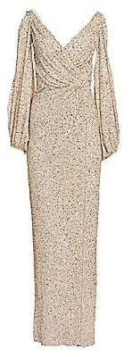 Jenny Packham Women's Gathered Sequin Cold-Shoulder V-Neck Gown