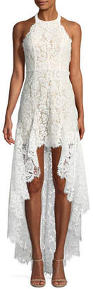 Aijek High-Low Sleeveless Lace Halter Cocktail Dress