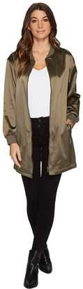 Vince Camuto Ribbed Taffeta Long Bomber Jacket Women's Coat
