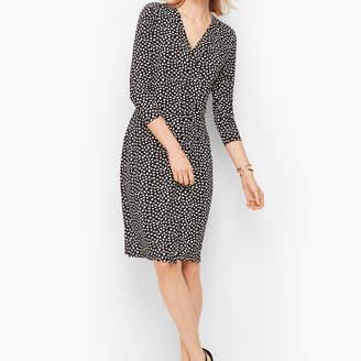 Talbots Heart Print Faux Wrap Jersey Dress