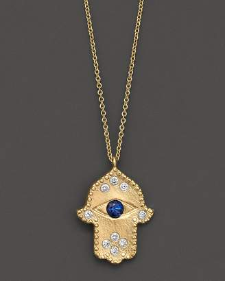 Meira T Diamond Hamsa and 14K Yellow Gold Necklace, 16