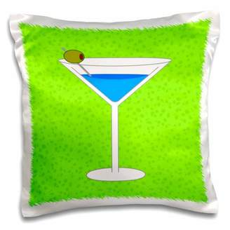 3dRose Bright Blue Martini in Glass with Olive - Green Background - Pillow Case, 16 by 16-inch