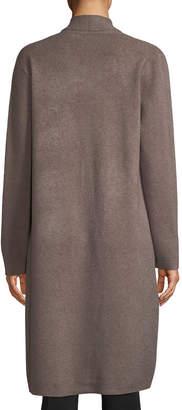 Neiman Marcus Open-Front Long Knit Cardigan