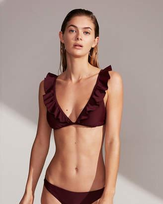 Express Solid Ruffle Triangle Bikini Swim Top