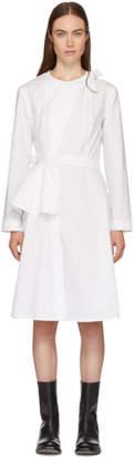 Roberts | Wood White Peplum Armour Wrap Dress
