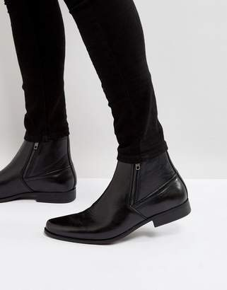 Asos Design DESIGN chelsea boots in black faux leather with zips
