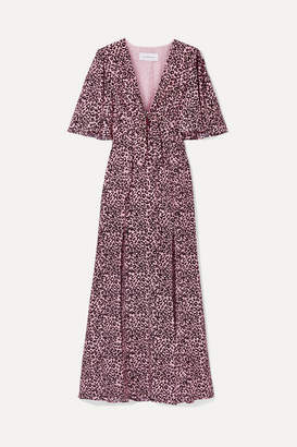 Les Rêveries Tie-front Leopard-print Silk-crepe Maxi Dress - Pink