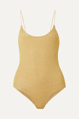Oseree Lumière Stretch-lurex Swimsuit - Gold