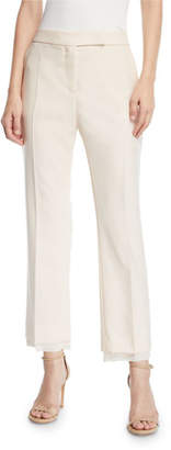 Max Mara Tartufo Straight-Leg Georgette-Trim Ankle Pants