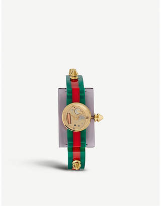 Gucci YA143506 Skeleton dial plexiglass and gold-plated watch