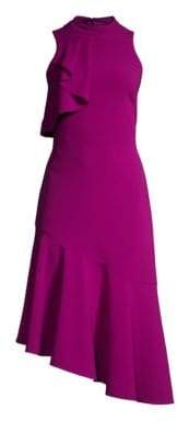 Parker Black Black Women's Maggie Ruffled Sleeveless Asymmetrical Dress - Electric Berry - Size 2