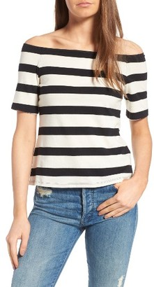 Women's Splendid Stripe Off The Shoulder Top $68 thestylecure.com