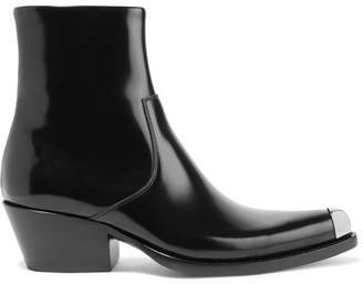 Calvin Klein Tex Chiara Metal-trimmed Glossed-leather Ankle Boots - Black