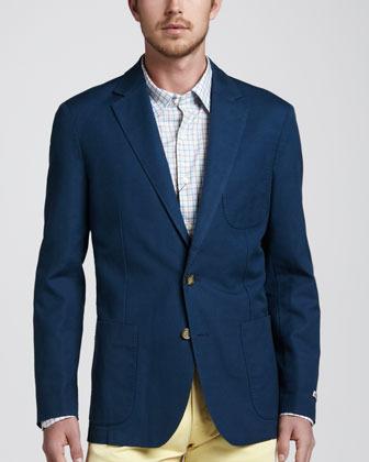 Peter Millar Soft Cotton-Linen Blazer, Navy